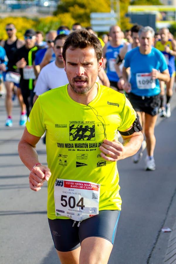 XXVIII halv maraton Bahia de Cadiz arkivbild