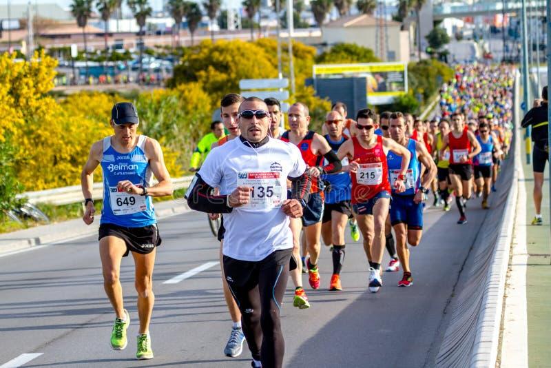 XXVIII halv maraton Bahia de Cadiz fotografering för bildbyråer