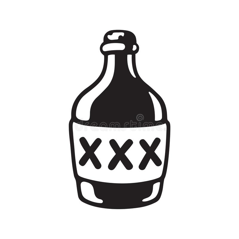 XXX alcohol bottle. Cartoon bootle of moonshine with XXX label. Black and white drawing of alcohol bottle. Vector illustration royalty free illustration