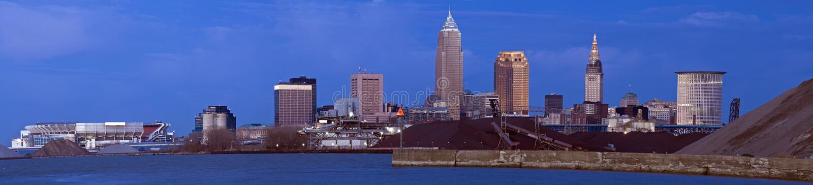 XXXL - Evening in Downtown Cleveland. Ohio stock image