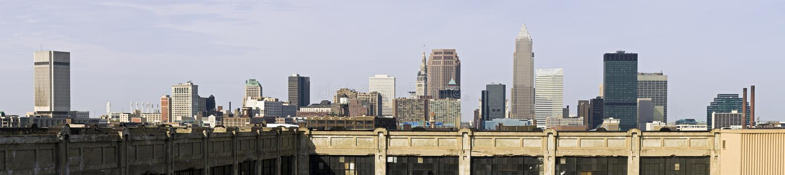 XXXL Panorama Of Downtown Cleveland Royalty Free Stock Photography