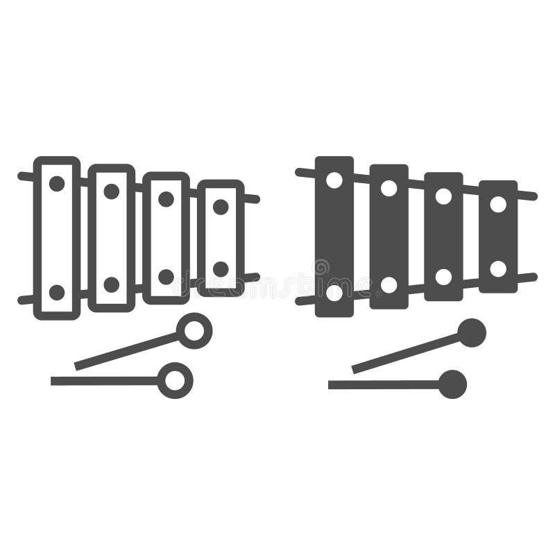 Xylofonlinje och skårasymbol, musikal och slagverk, instrumenttecken, vektordiagram, en linjär modell vektor illustrationer