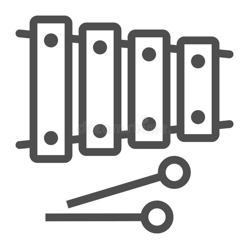 Xylofonlinje symbol, musikal och slagverk, instrumenttecken, vektordiagram, en linjär modell på en vit bakgrund stock illustrationer