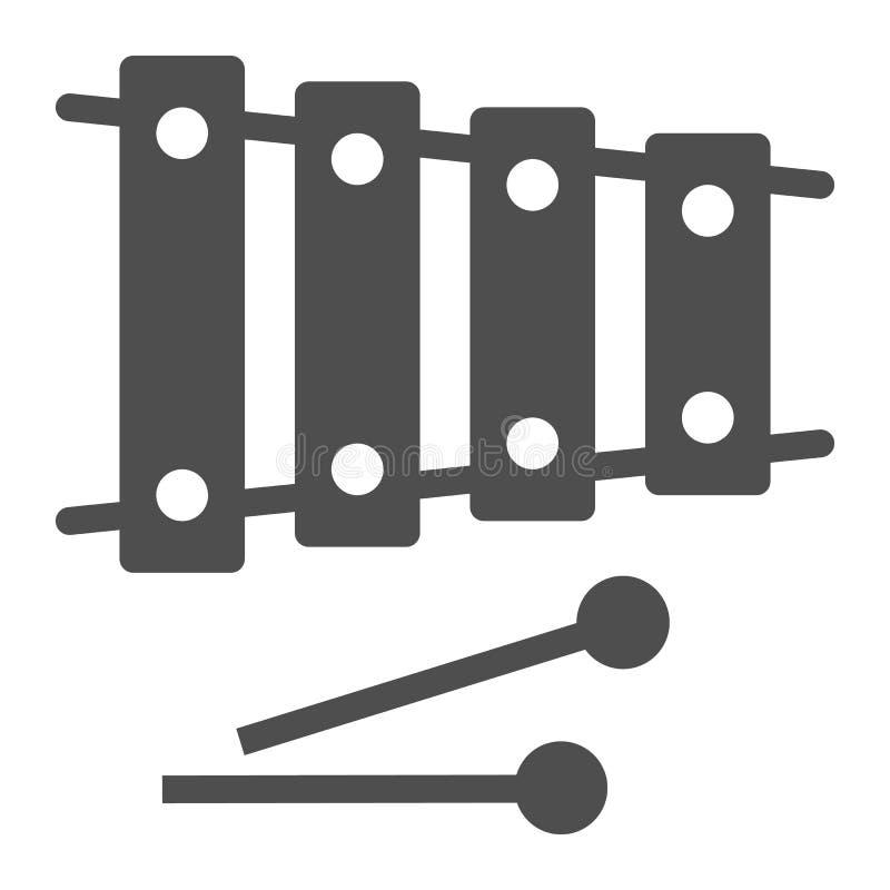 Xylofonskårasymbol, musikal och slagverk, instrumenttecken, vektordiagram, en fast modell på en vit bakgrund vektor illustrationer