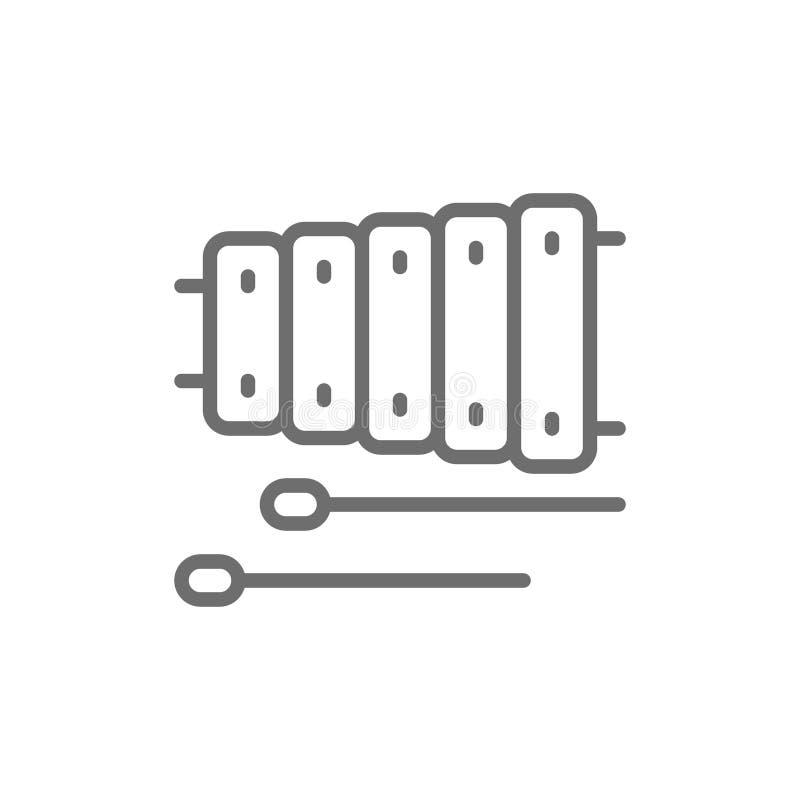 Xylofoon, de lijnpictogram van het muziekinstrument stock illustratie