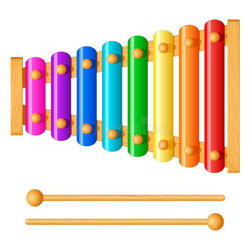 Xylophone παιδιών με οκτώ διαφορετικά χρωματισμένα μεταλλικά πιάτα διανυσματική απεικόνιση