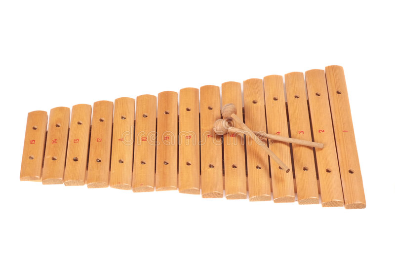 Xylophone. Instrument isolated on white stock images