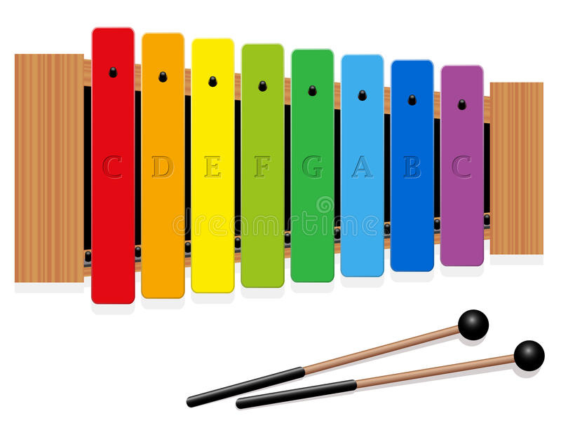 Xylophone C Major Scale Rainbow Colored royalty free illustration