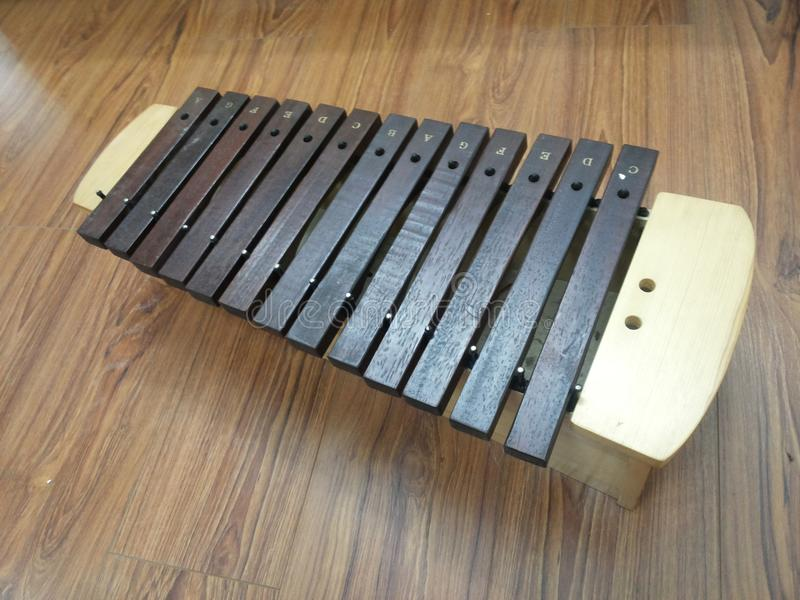 Xylophone. Is composed by a set of small rectangular pieces of wood. These pieces of wood are arranged in a certain order. Modern  three octave vocal range royalty free stock photography