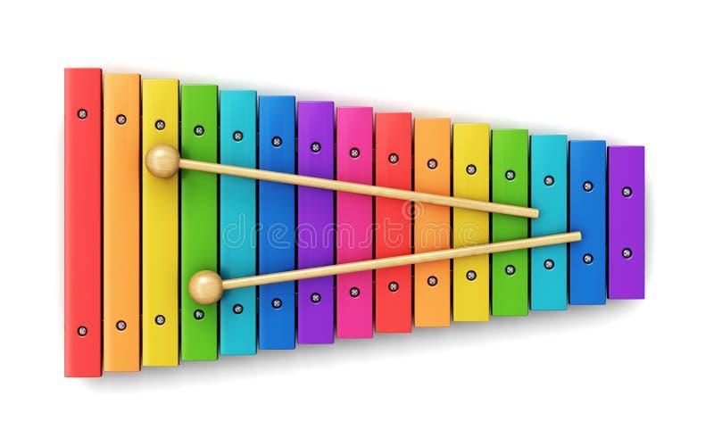 Xylophone stock illustration of rainbow