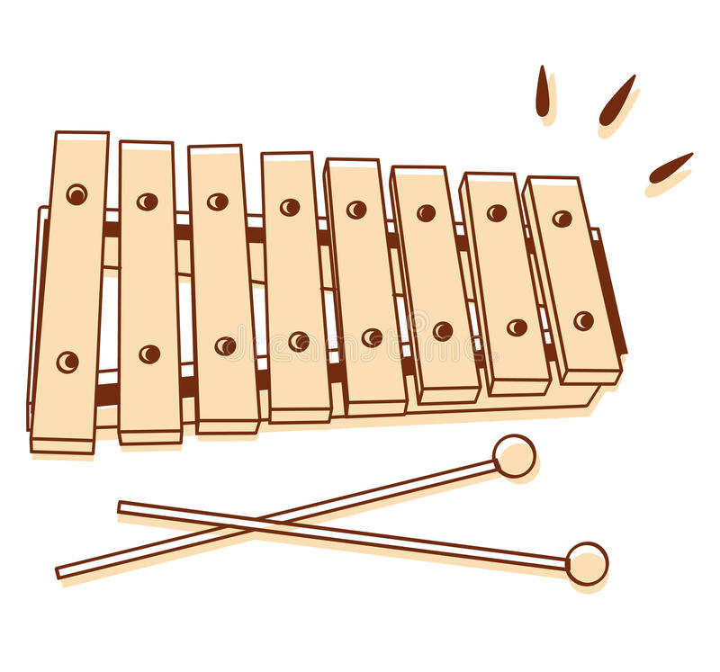 Xylophone isolated. Illustrations of a xylophone isolated on white background stock illustration