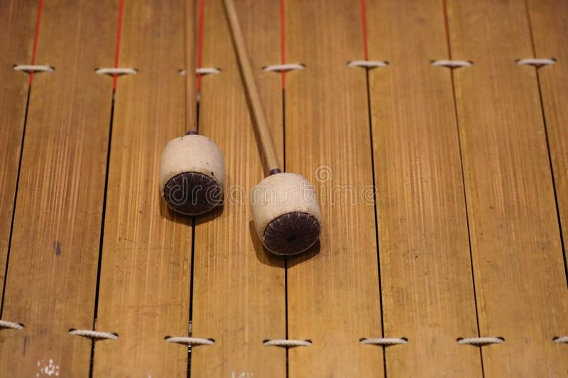 The xylophone is a musical instrument in the percussion family that consists of wooden bars stock photos