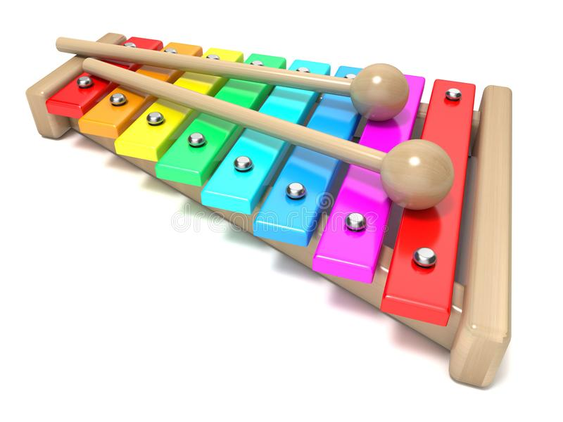 Xylophone with rainbow colored keys and with two wood drum stick vector illustration