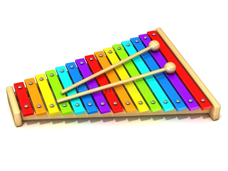 Xylophone with rainbow colored keys stock illustration