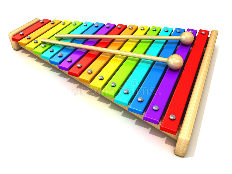 Xylophone with rainbow colored keys vector illustration
