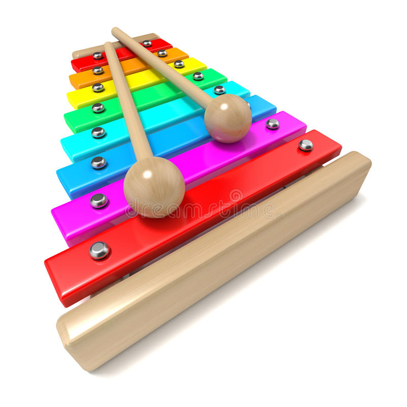 Xylophone with rainbow colored keys and with two wood drum sticks. 3D render royalty free illustration