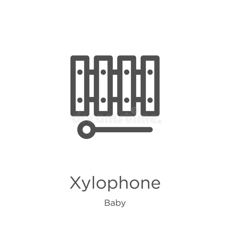 Xylophonikonenvektor von der Babysammlung D?nne Linie Xylophonentwurfsikonen-Vektorillustration Entwurf, d?nne Linie Xylophon stock abbildung