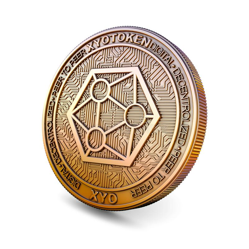 Xyo - Cryptocurrency Coin. 3D rendering. Xyo XYO - Cryptocurrency Coin on White Background. 3D rendering royalty free illustration