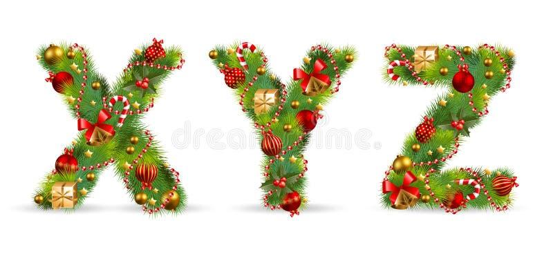 XYZ, fuente del árbol de navidad stock de ilustración