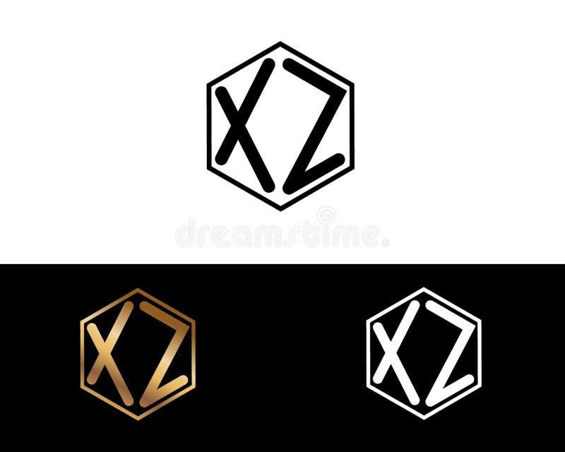 XZ-Buchstaben verbunden mit Hexagonformlogo lizenzfreie abbildung