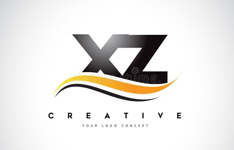 现代汉�z(�X[�z��XZ�x�_xz x z swoosh信件与现代黄色swoosh曲线的商标设计