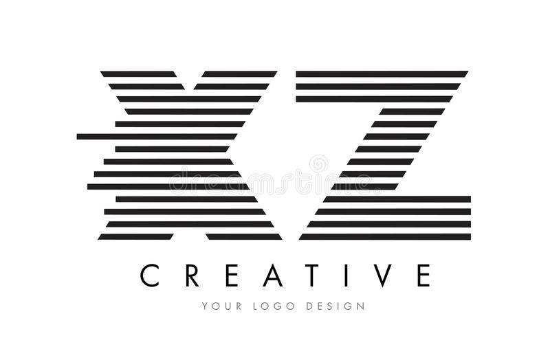 XZ X Z Zebra Letter Logo Design with Black and White Stripes stock illustration