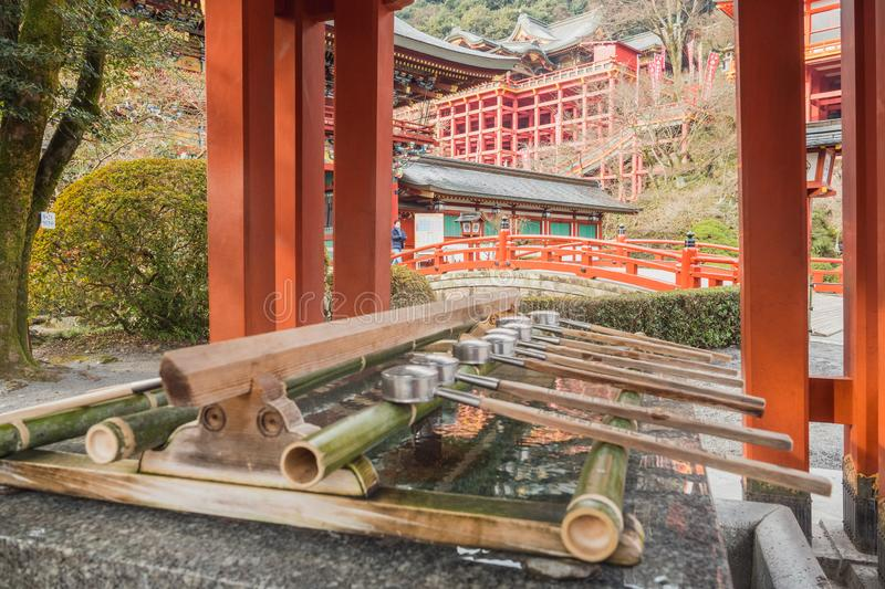 YÅ«toku Inari Shrine was prepared for cleaning the faith. Mouth and hands before entering the court and to the cleanliness. Kashima.Saga.Japan.JANUARY,31,2018 stock image