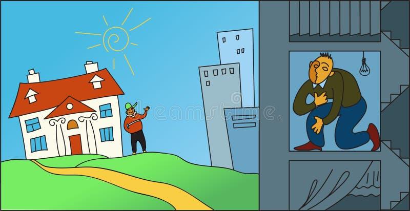 Żyć w mieście lub w przedmieściach ilustracji