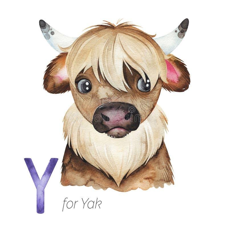 Y字母的可爱牦牛 向量例证