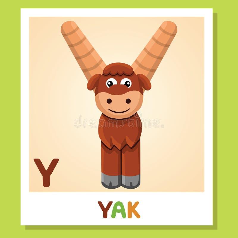 Y是为牦牛 信函y 牦牛,逗人喜爱的例证 字母表动物背景镜象向量白色 皇族释放例证