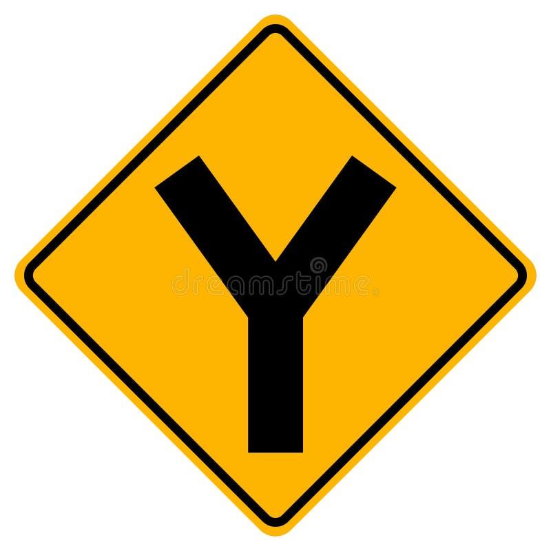 Y - дорожный знак движения соединения, иллюстрация вектора, изолят на белом значке предпосылки EPS10 иллюстрация штока