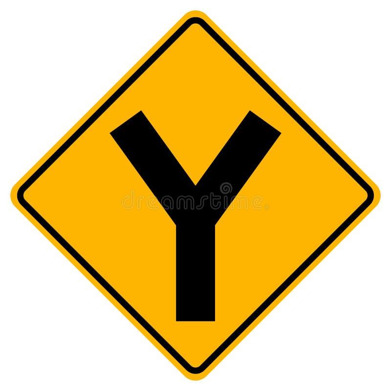 Y -连接点交通路标,传染媒介例证,在白色背景象的孤立 EPS10 库存例证
