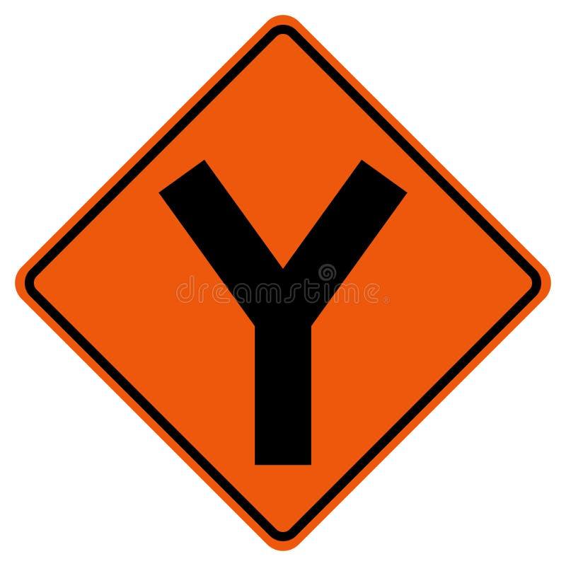 Y -连接点交通路标,传染媒介例证,在白色背景象的孤立 EPS10 向量例证