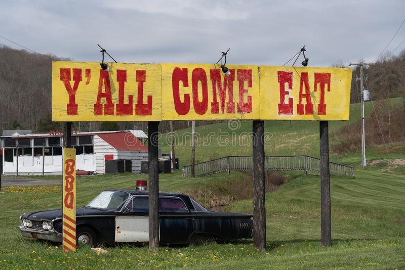 Y`All Come Eat sign by the road in Virginia royalty free stock images