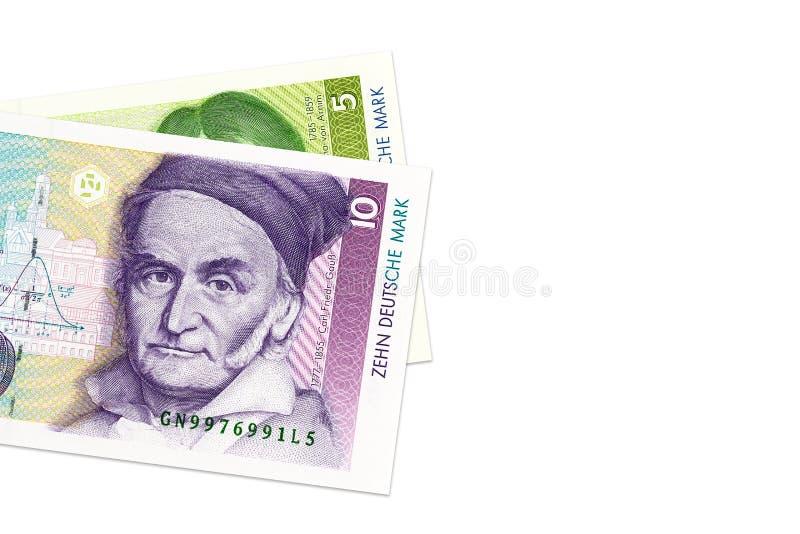 5 y 10 billetes de banco de la marca alemana foto de archivo libre de regalías