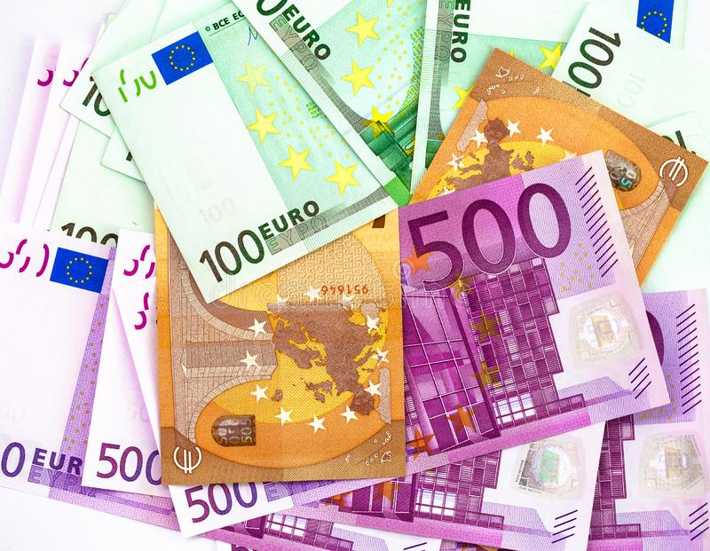 500 100 y 50 billetes de banco de los euros foto de archivo libre de regalías
