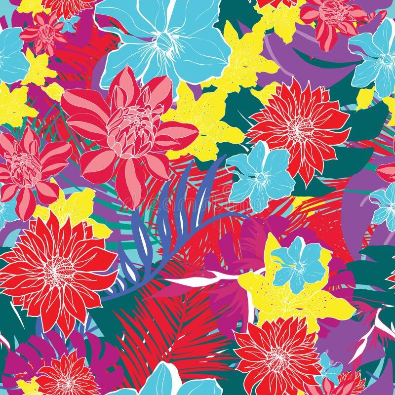 Y colorida vector inconsútil tropical hawaiano dibujado mano brillante del modelo del diseño retro de las hojas y de las flores stock de ilustración