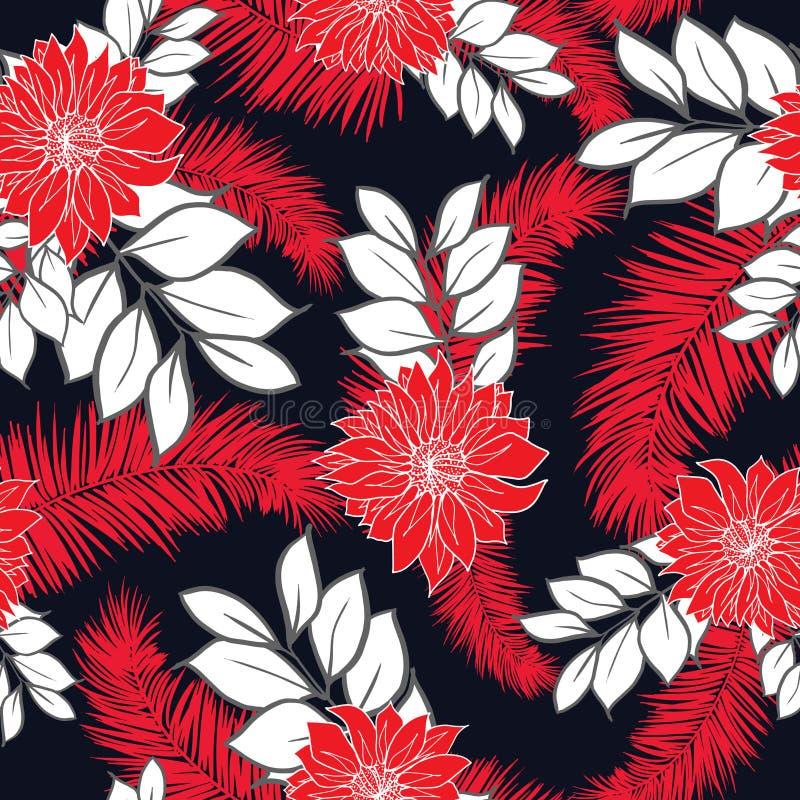 Y colorida vector inconsútil tropical hawaiano dibujado mano brillante del modelo del diseño retro de las hojas y de las flores libre illustration