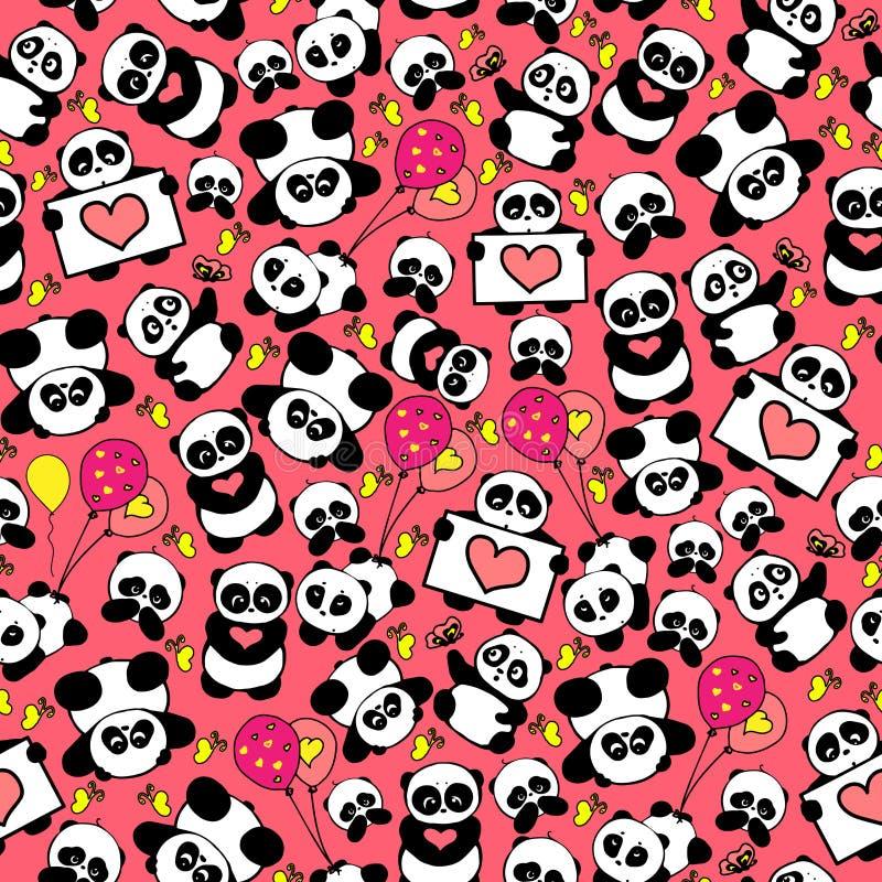 Y divertida las pandas dibujadas mano linda con los corazones diseñan vector inconsútil del modelo stock de ilustración