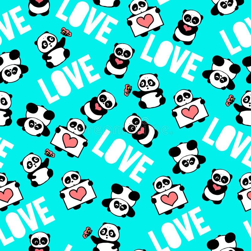 Y divertida pandas dibujadas mano linda con los corazones, diseño de la tipografía del amor de los globos ilustración del vector