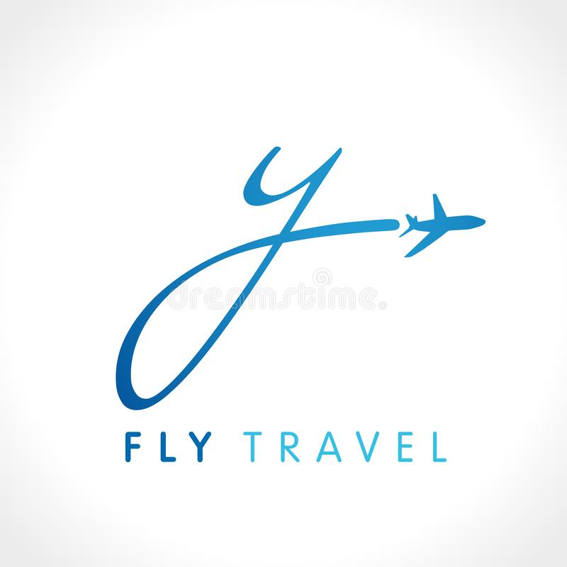 Y het embleem van het de reisbedrijf van de brievenvlieg vector illustratie