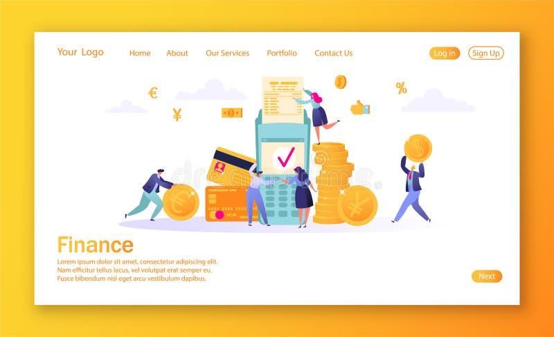 Y Kreditkort och betalningterminal Affärsfolket betalar myntkassa Plana folktecken som gör pengar stock illustrationer