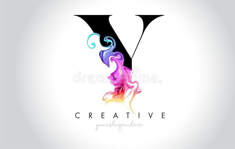 Y Leter criativo vibrante Logo Design com tinta colorida Flo do fumo ilustração stock