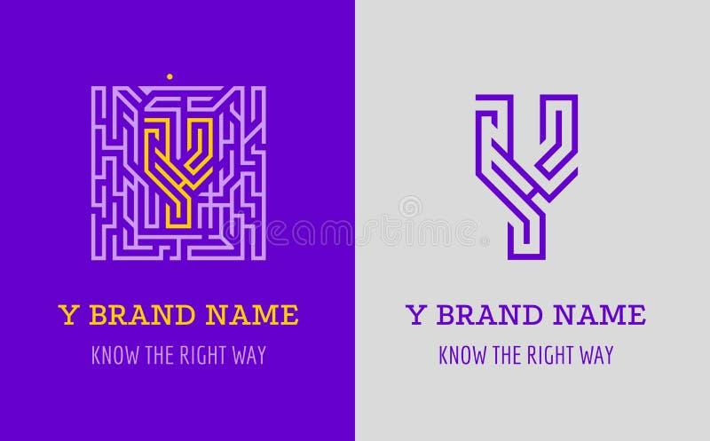 Y listu logo labirynt Kreatywnie logo dla korporacyjnej tożsamości firma: listowy Y Logo symbolizuje labitynt, wybór prawa ścieżk ilustracja wektor