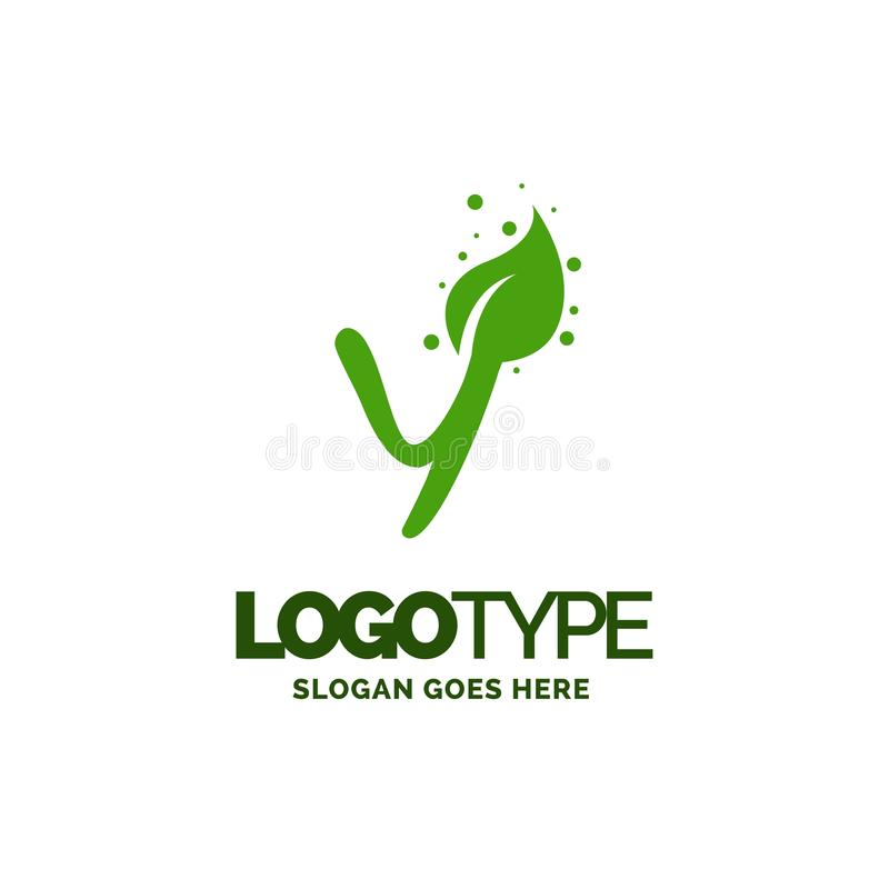 Y logo with Leaf Element. Nature Leaf logo designs, Simple leaf. Logo symbol. Natural, eco food. Organic food badges in vector. Vector logos. Natural logos with royalty free illustration