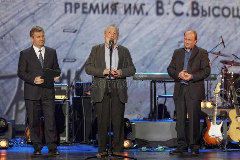 Y.Norstein, G.Ivliev, V.Tolstoy bij Theater Taganka stock afbeeldingen