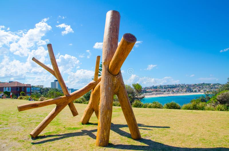 ` Y Not ` is a sculptural artwork by Sasha Reid at the Sculpture by the Sea annual events free to the public sculpture exhibition. SYDNEY, AUSTRALIA. – royalty free stock photography