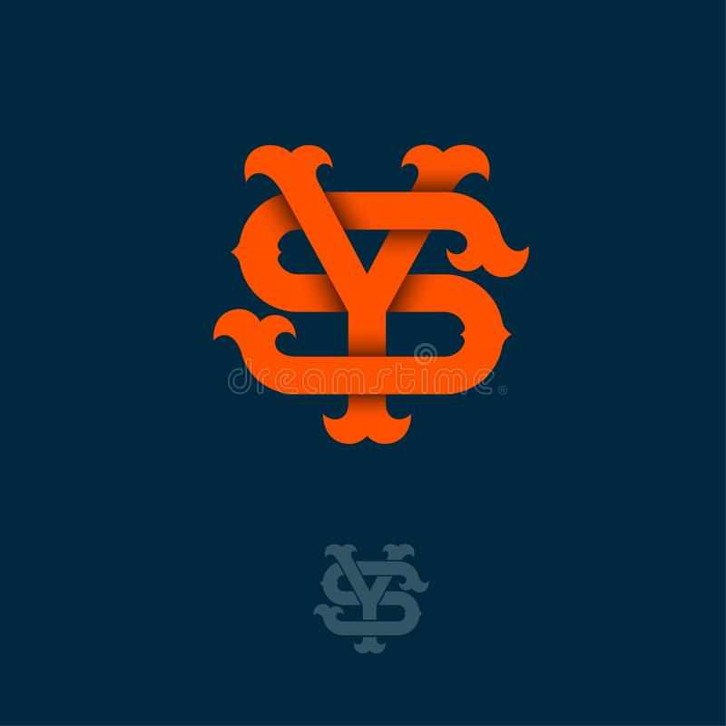 Y- och s-monogram Apelsin Y och S korsade bokstäver på mörk bakgrund royaltyfri illustrationer