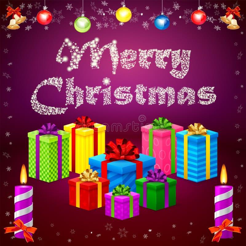 2015 y regalos de la Feliz Navidad ilustración del vector