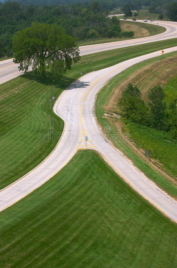The Y In The Road. Entrance to a overlook area near Galena, Illinois. This shot is taken from the observation tower to give a good view of the lines of the entry